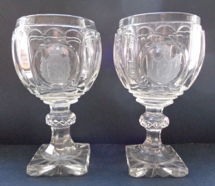 Antique Russian Imperial Glass Factory Pair of Armorial Wine Glasses for Prince